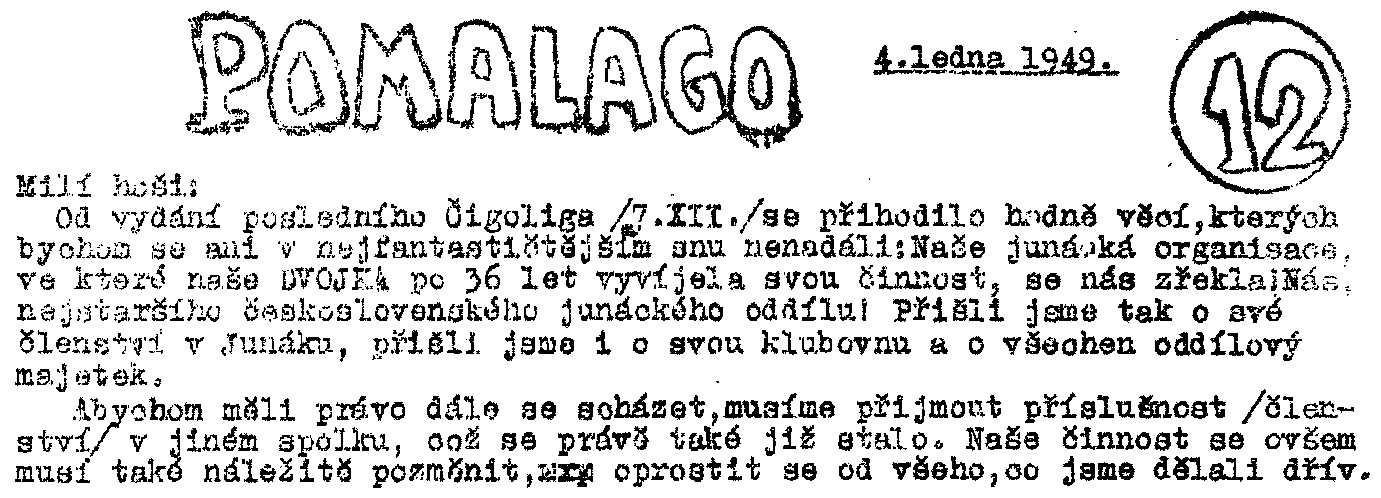 POMALAGO - ČIGOLIGO č.12 ze 4.ledna 1949