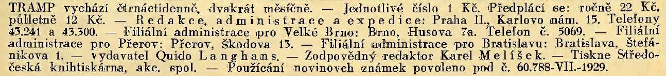 TRAMP_1.rocnik_(1929)_cislo_19 - tiraz