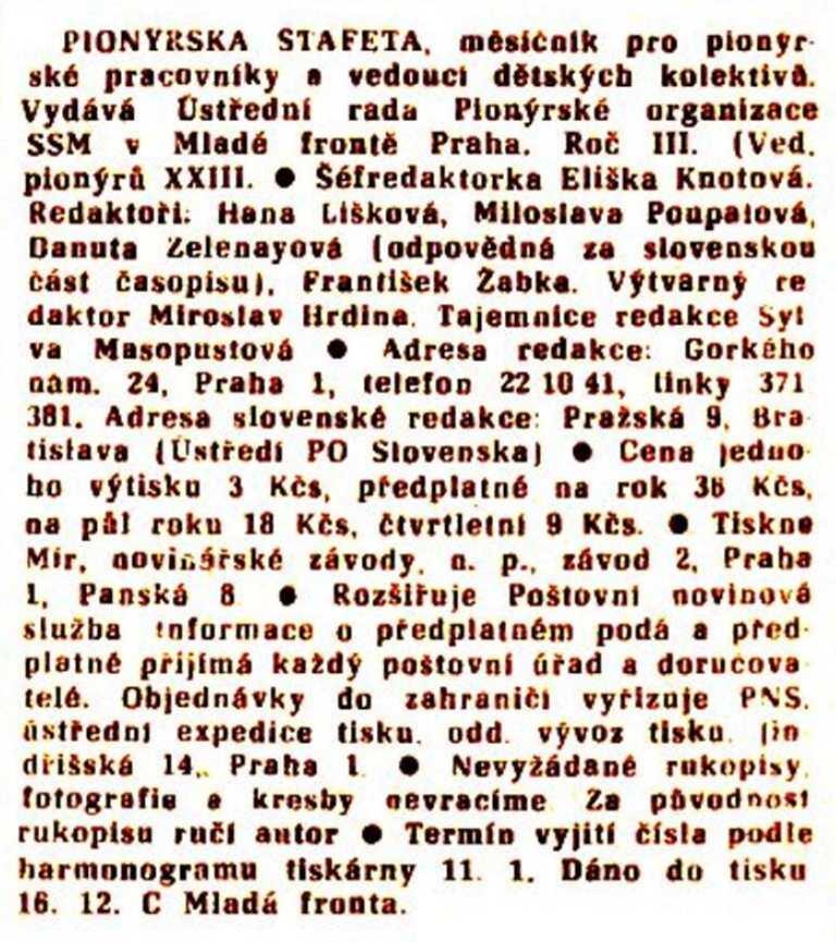 PIONYRSKA_STAFETA_(1971)_cislo_1_tiráž