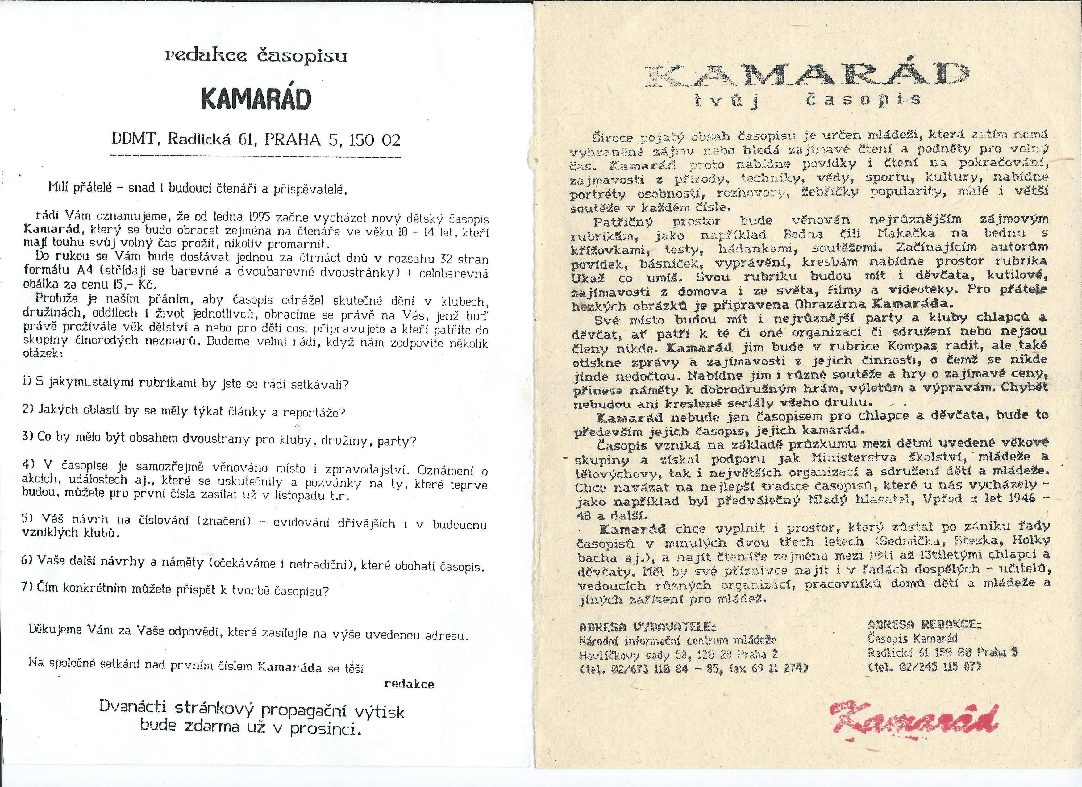 KAMARAD_0.rocnik_(1994)_letaky